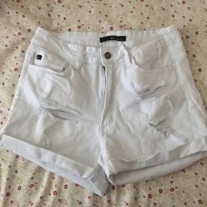 Pants - White Distressed Shorts